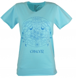Star sign T-Shirt `Cancer` - turquoise