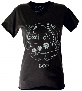 Star sign T-Shirt `Lion` - black
