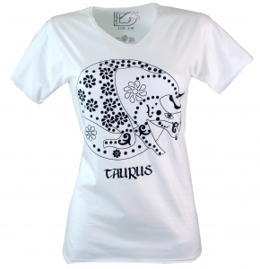 Star sign T-Shirt `Stier` - white