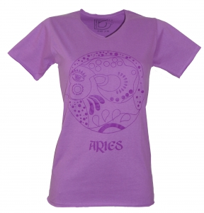 Star sign T-Shirt `Widder` - purple