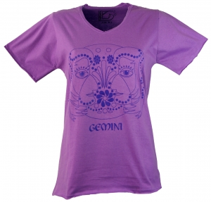Star sign T-Shirt `Zwillinge` - purple