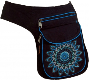 Fabric Sidebag Belt Bag Mandala, Goa Belt Bag, Belly Bag - blue