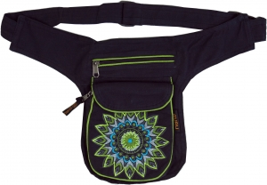 Fabric Sidebag Belt Bag Mandala, Goa Belt Bag, Bum Bag - green