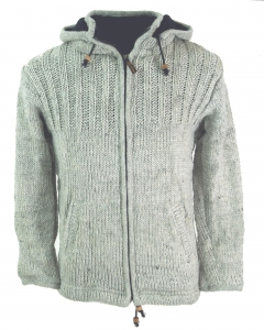 Cardigan Wool Jacket Nepal Jacket - stone grey