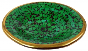 dark green mosaic bowl round