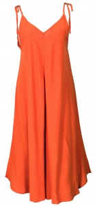 Boho jumpsuit, 3/4 summer overall, trouser dress - orange