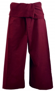 Thai cotton fishing pants, wrap pants, yoga pants - bordeaux