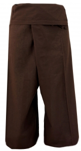 Thai cotton fishing pants, wrap pants, yoga pants - mocha brown
