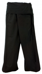 Thai cotton fishing pants, wrap pants, yoga pants - black