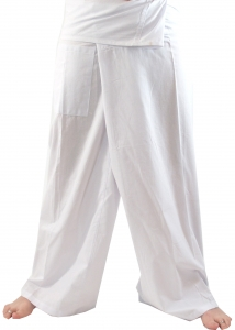 Thai cotton fishing pants, wrap pants, yoga pants - white