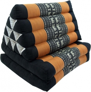 Thai pillow, triangle pillow, kapok, day bed with 2 pads - black/..