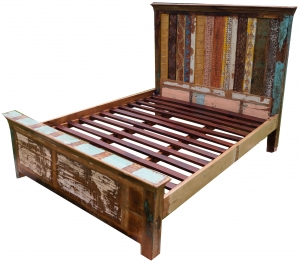 Vintage bed made of recycled wood