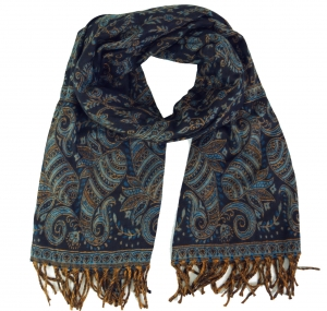 Weicher Pashmina Schal / Stola mit - Paisley Muster petrol
