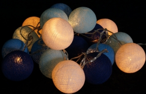 Fabric Ball Light Chain LED Ball Lampion Light Chain - blue/white