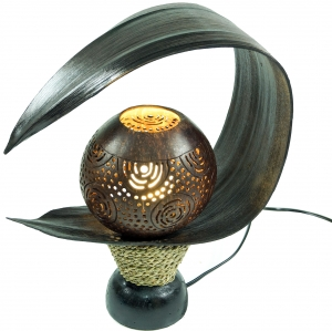 Palm leaf table lamp/table lamp, in Bali handmade from natural ma..