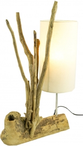 Table lamp Madura, handmade in Bali, driftwood, cotton - model Ma..