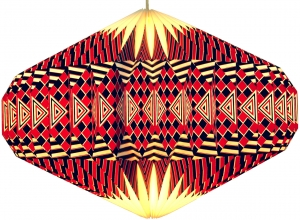 Origami Design Paper Lampshade - Model Ufo/red