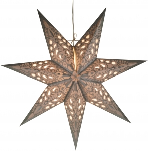 Foldable Advent Paper Star, Poinsettia Priamos - silver