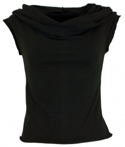 Yogatop, Psytrance Festival Top with shawl hood - black