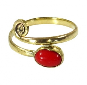 Toering made of brass, Goaschmuck with coral imitation - gold