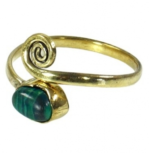 Toering made of brass, Goaschmuck with Malachite - gold