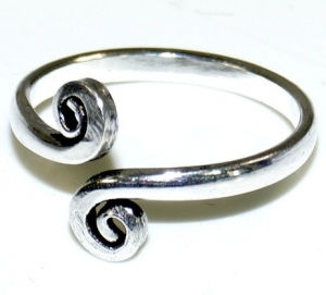 Toe ring made of brass, Goaschmuck - silver