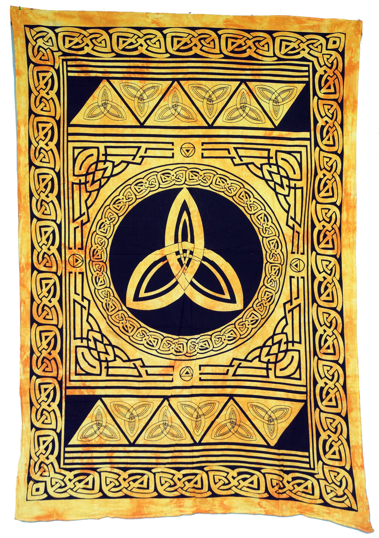 Indian Wall Towel, Batik Bedspread - Celtic Knot/golden yellow ...