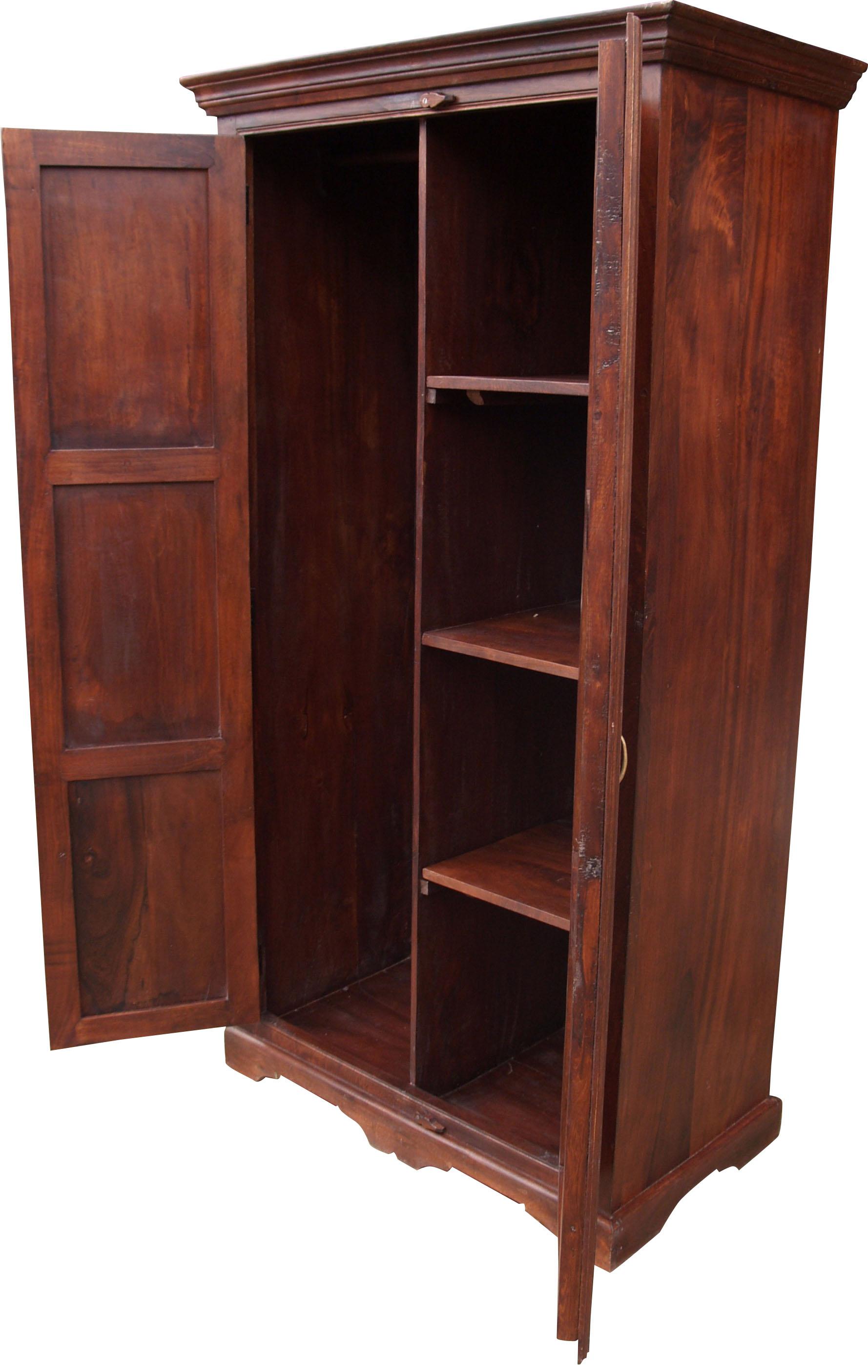 Kleiderschrank im Kolonialstil & Kleiderstange 1 - 185x100x52 cm