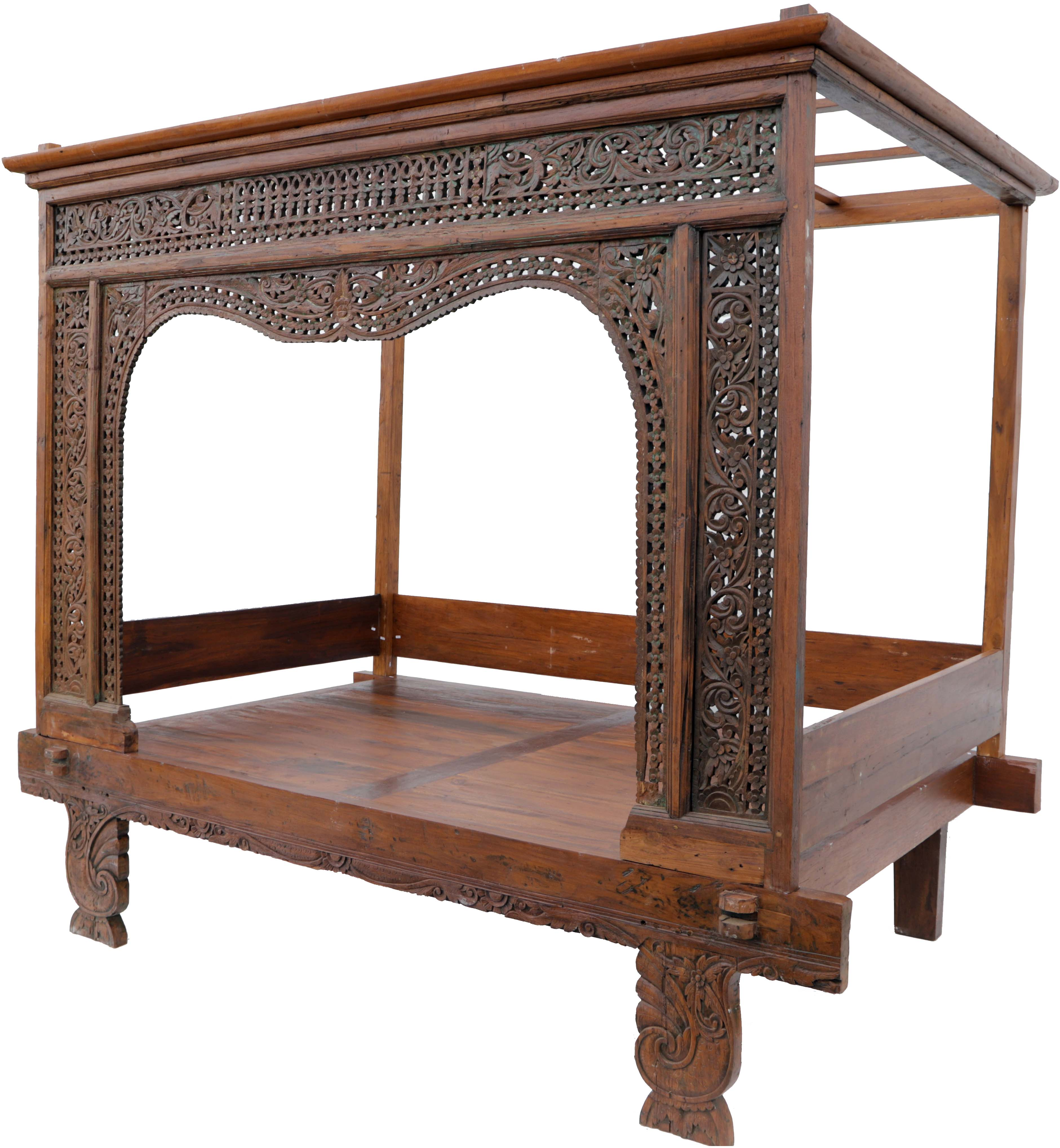 - Historic Four-poster Bed, Teak Daybed - Model 8 - 203x228x150 Cm