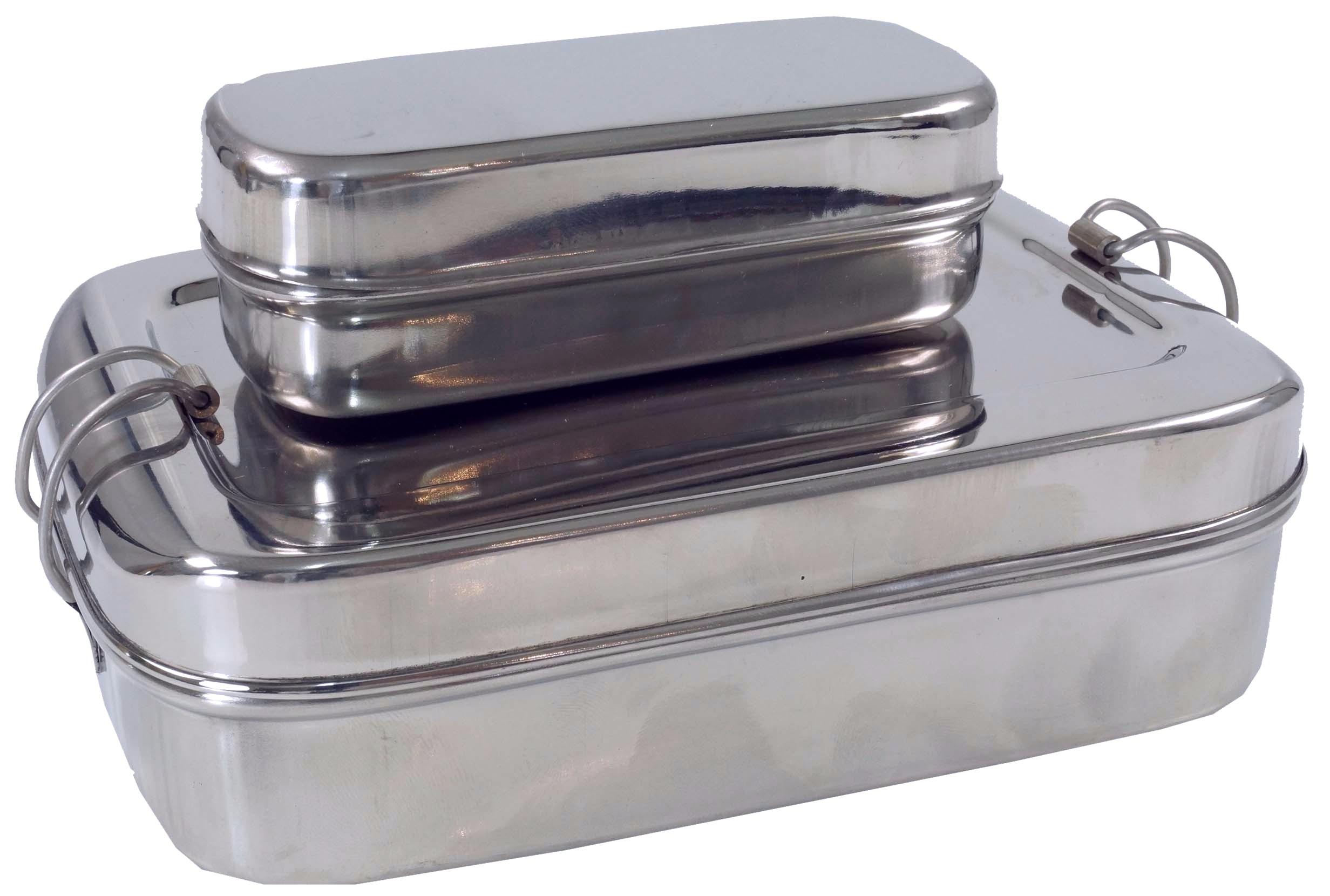 Lunchbox  Vesper Brotdose Edelstahl mit Innenbehälter Deckel Griff 4 Teile neu
