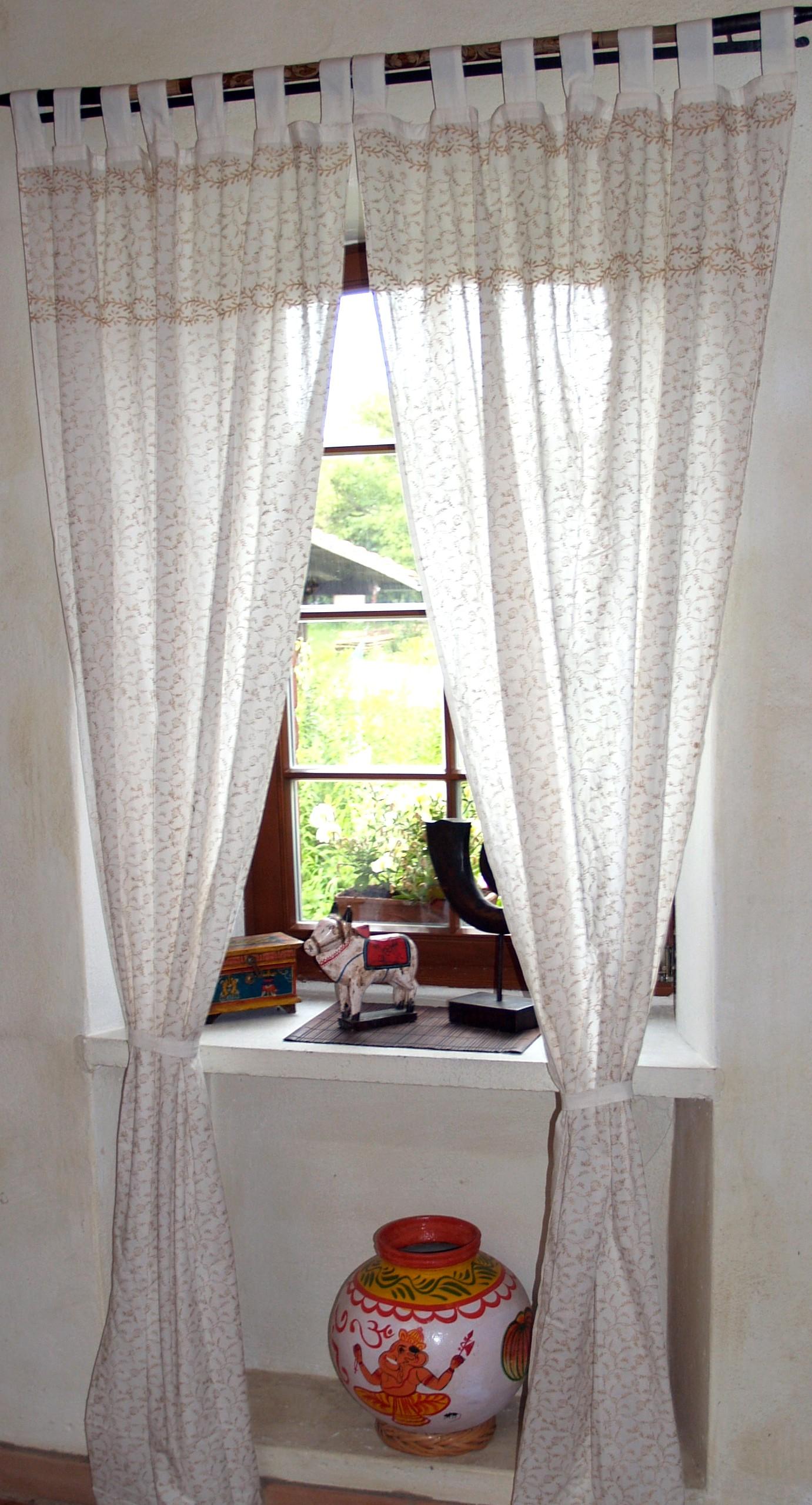 orientalische vorhang gardine 1 paar vorh nge gardinen golddruck 100 cm. Black Bedroom Furniture Sets. Home Design Ideas