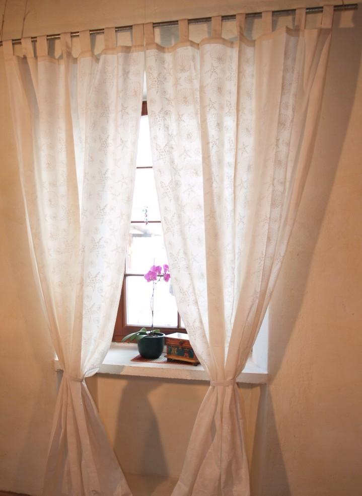 vorhang gardine 1 paar vorh nge gardinen mit schlaufen handbedruckt 100 cm. Black Bedroom Furniture Sets. Home Design Ideas