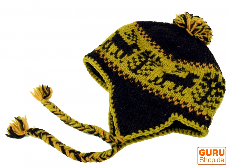 edabe982 Wool hat with ear flaps, Norwegian cap - moss green - 8