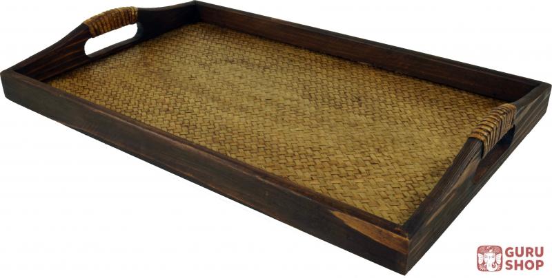 tablett holz rattan fr hst ckstablett serviertablett mit holzrahmen rattangeflecht. Black Bedroom Furniture Sets. Home Design Ideas