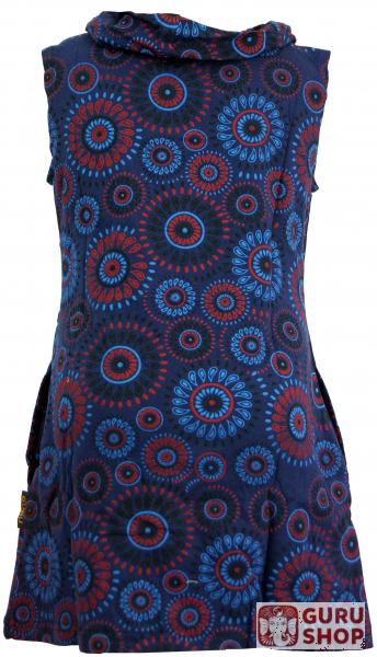 Embroidered girls tunic with shawl collar, short sleeve ethno mini dress -  dark blue
