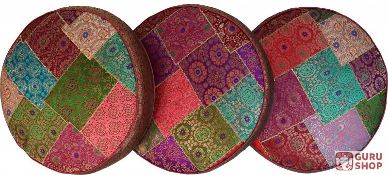 orientalisches rundes patchwork kissen 40 cm sitzkissen bodenkissen mit baumwollf llung rot. Black Bedroom Furniture Sets. Home Design Ideas