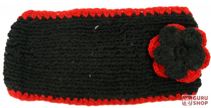 Woll-Strick-Stirnband mit Blume - dark schwarz