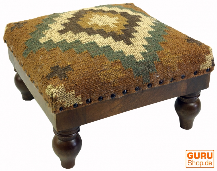 Arabic Moroccan Kilim Floor Stool Oriental Seat With Wooden Frame