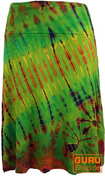 0942458c35f5 Batik Hippie Midirock, Sommerrock, knielang - grün/bunt