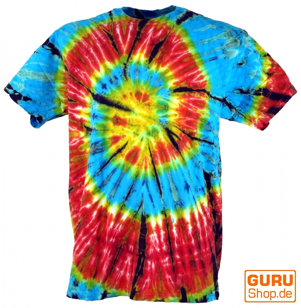 Fabulous Batik T-Shirt, Men Short Sleeve Tie Dye Shirt - Light Blue/Red Spiral NP03