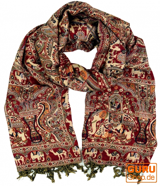 7f5c1d934a0caf Indischer Pashmina Schal, Schultertuch, Boho Stola mit Paislay Muster - rot/ creme - 200x70 cm