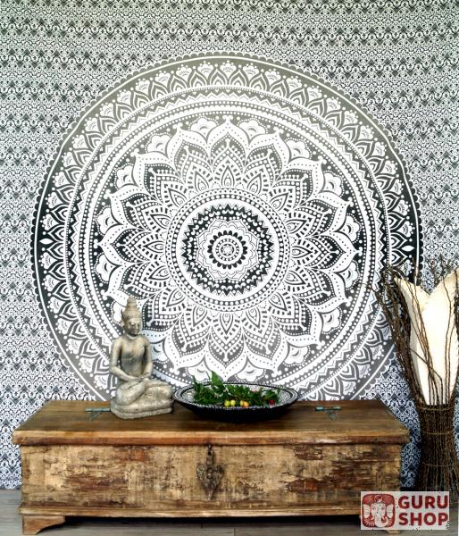 indisches mandala tuch wandtuch tagesdecke mandala druck wei schwarz 230x210 cm. Black Bedroom Furniture Sets. Home Design Ideas