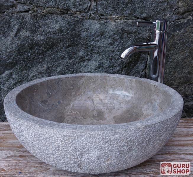 Massives Rundes Marmor Aufsatz Waschbecken Waschschale Naturstein