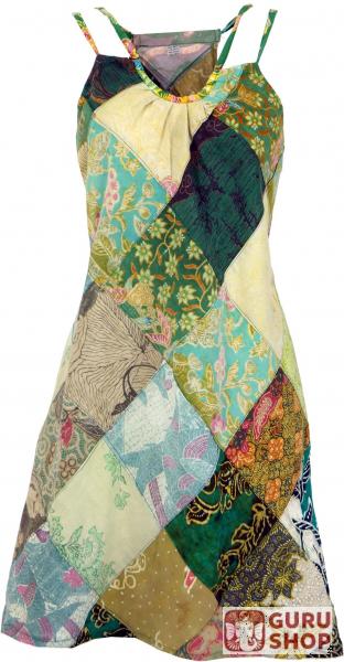 heißer Verkauf online 14535 02ae2 Minikleid, Patchworkkleid, Sommerkleid, Trägerkleid, kurzes Kleid -  grün/bunt