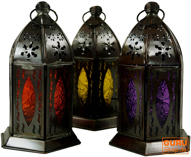 Orientalische metall glas laterne in marrokanischem design for Orientalische metall lampen