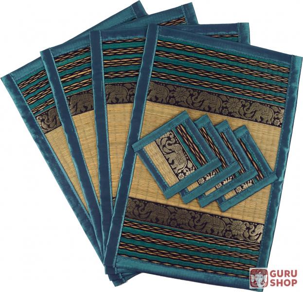 Placemat Bast Coaster Table Mat 4er Set Turquoise 45x30x0 3 Cm