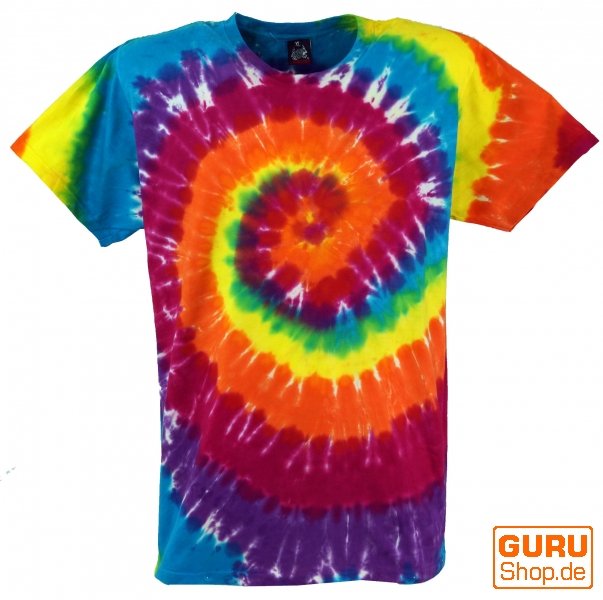 Regenbogen Batik T Shirt Herren Kurzarm Tie Dye Shirt Spirale 2