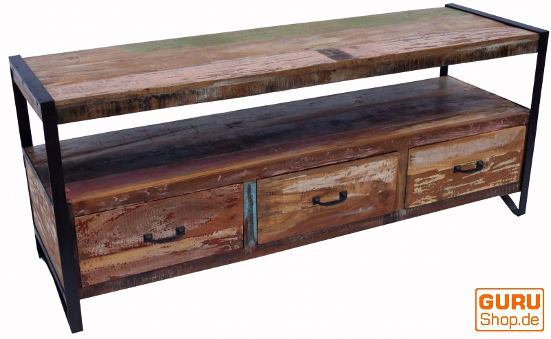 Vintage Tv Table Sideboard Made Of Recycled Wood Model 1