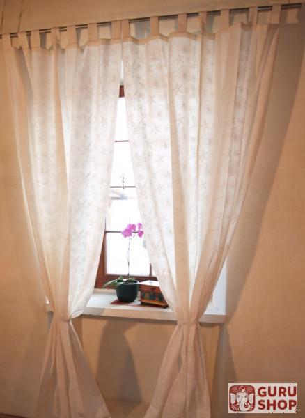 vorhang gardine 1 paar vorh nge gardinen mit schlaufen handbedruckt seestern wei 100 cm. Black Bedroom Furniture Sets. Home Design Ideas