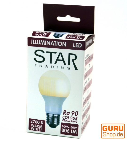 10 W LED Lampe E27 (806LM ~ 60W) - warmweiß - 11x6x6 cm Ø 6 cm